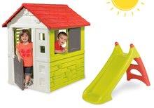 Set domeček pro děti Nature Smoby a skluzavka Toboggan XS s délkou 90 cm od 2 let