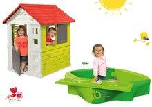 Set domček pre deti Nature Smoby so zasuvacou okenicou+pieskovisko Sandy a kryt s vodnou drahou  SM810704-17