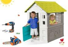 Set domček Jolie Smoby modrý s 3 oknami a 2 žalúziami a motorová píla s vŕtačkou Bob The Builder od 24 mes