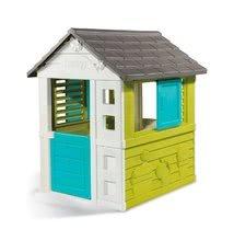 Házikó Pretty Blue Smoby kékes-zöld UV védelemmel 3 ablakkal, 2 árnyékolóval és 2 elhúzható zsalugáterrel 2 évtől