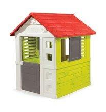 Domček Nature Smoby červeno-zelený, 3 okná s 2 žalúziami a 2 posuvné okenice s UV filtrom od 2 rokov