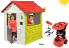 Set kućica Nature Smoby crvena 3 prozora i 2 rolete i radionica kolica Cars 3 od 24 mjeseca