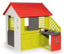 Hišica s kuhinjico Nature Smoby rdeče-zelena, 3 okna in 2 žaluziji s premično naoknico s UV filtrom in 17 dodatki od 2 leta