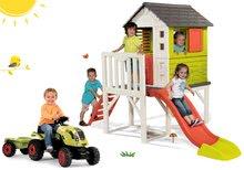 Set detský domček na pilieroch Pilings House Smoby s 1,5 m šmykľavkou+traktor na šliapanie Claas Farmer XL s prívesom SM81080