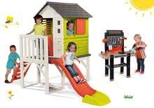 Set detský domček na pilieroch Pilings House Smoby s 1,5 m šmykľavkou+pracovná dielňa Black+Decker elektronická s vŕtačkou SM