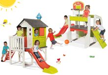 Set dětský domeček na pilířích Pilings House Smoby s 1,5 m skluzavkou a hrací centrum Fun Center se stolem od 2 let