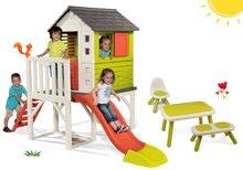 Set kućica na stupovima Pilings House Smoby s toboganom od 1,5 m i stol s klupicom i stolcem KidChair