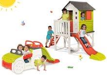 Set căsuţă pe piloni Pilings House Smoby cu tobogan de 1,5 m și căţărătoare Adventure Car cu nisipar de la 24 luni