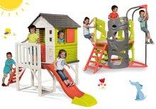Set dětský domeček na pilířích Pilings House Smoby s 1,5 m skluzavkou a prolézačka Multi-Activity Tower s tyčí na šplhání od 2 let
