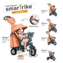 Trojkolky od 10 mesiacov - Trojkolka Explorer Orange smarTrike 360° riadenie s polohovateľnou opierkou 5v1 šedo-oranžová od 10 mes_0