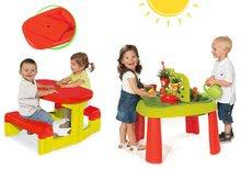 Set dětský stůl Zahradník De Jardinage 2v1 Smoby s plotem a stůl Piknik s úložným prostorem od 2 let