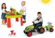 Szett gyerek asztal Kertész De Jardinage 2in1 Smoby kerítéssel és traktor Claas GM pótkocsival 2 éves kortól