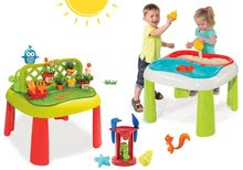 Set stůl Zahradník De Jardinage 2v1 Smoby s plotem a stůl Voda&Písek 2v1 s mlýnem