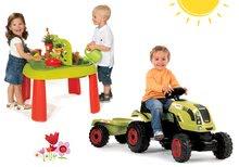 Set stůl Zahradník De Jardinage 2v1 Smoby s plotem a traktor Claas Farmer XL s přívěsem od 24 měsíců