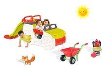 Set preliezačka pre deti Adventure Car Smoby so šmykľavkou dlhou 150 cm, fúrik a námornícky vedro set od 2 rokov