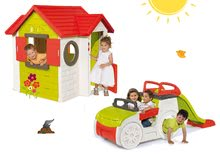 Preliezačky sety - Set preliezačka Adventure Car Smoby so šmykľavkou dlhou 150 cm a domček My House od 24 mes_29