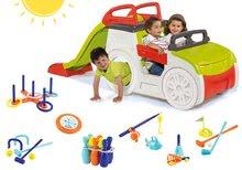 Set detská preliezačka Adventure Car Smoby so šmykľavkou dlhou 150 cm a 7 športových hier od 2 rokov