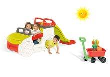 Set căţărătoare Adventure Car Smoby cu tobogan cu lungime de 150 cm şi maşinuţă tractabilă cu set de găleată de la 24 luni