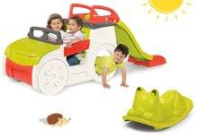 Set preliezačka Adventure Car Smoby so šmykľavkou a zelená hojdačka Kocúr od 2 rokov