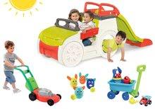 Preliezačka Adventure Car s pieskoviskom a šmykľavkou+kosačka+vozík na ťahanie s vedrom a krhličkou+kolky pre deti s pohyblivými ušami SM840200-23