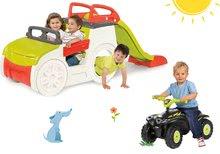 Set dětská prolézačka Adventure Car Smoby s pískovištěm a odrážedlo čtyřkolka Quad od 2 let