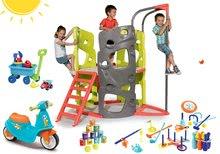 Set preliezačka Multi-Activity Tower Smoby na šplhanie so šmykľavkou+odrážadlo s gumenými kolesami a športové hry s vozíkom S