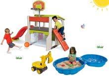 Hracie centrá - Set hracie centrum Fun Center Smoby so šmykľavkou dlhou 150 cm, bager Maxi Power a dvojdielne pieskovisko od 24 mes_35