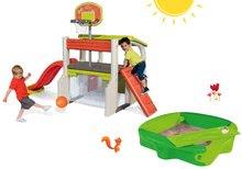 Komplet igralni center Fun Center Smoby s toboganom in peskovnik Sandy s pokrivalom od 24 mes