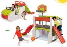Komplet igralni center Fun Center Smoby s toboganom in plezalo Adventure Car in peskovnik od 24 mes