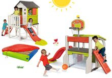 Komplet igralni center Fun Center Smoby s toboganom in hišica na stebrih s peskovnikom od 24 mes