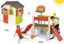 Set centru de joacă Fun Center Smoby cu maşină de construcţie 25 de piese, tobogan şi căsuţă Jura Lodge de la 24 luni