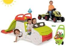 Komplet plezalno igralo Adventure Car Smoby s toboganom dolžine 150 cm, traktor Claas GM in voziček za vrtnarja od 24 mes