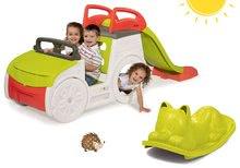 Căţărătoare Adventure Car cu tobogan Smoby şi balansoar verde Pisică de la 24 luni