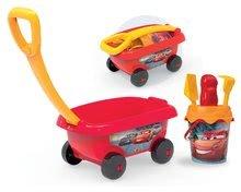 Smoby detský vozík na ťahanie Autá s vedro setom 867000 červený