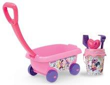 Maşinuţă de tras Minnie Smoby roz cu setul de găleată pentru nisipar (înălţimea găleţii 18 cm)  roz de la 18 luni