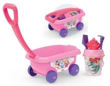 Smoby detský vozík na ťahanie Disney Princezné s vedro setom 867004 ružový