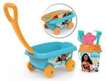 Maşinuţă de tras Vaiana Smoby cu set găleată pentru nisipar (înălţimea găleţii 18 cm) turcoaz de la 18 luni