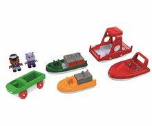 Nave cu containere şi bărci cu motor AquaPlay cu hipopotam şi urs 7 bucăţi