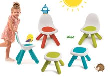 Szett 3 kisszék KidChair Smoby és 2 asztalka (UV szűrő) kék, piros, zöld 18 hó-tól