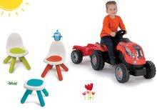 Set Piknik stolík s dvoma stoličkami KidChair Smoby a traktor RX Bull s prívesom od 24 mes