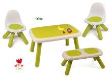 Set stôl pre deti KidTable Smoby zelený s lavicou a dvoma stoličkami s UV filtrom SM880401-2