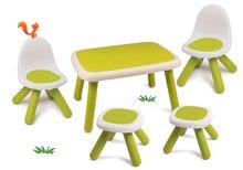 Set stôl pre deti KidTable Smoby zelený s dvoma stoličkami a dvoma stolčekmi s UV filtrom SM880401-4