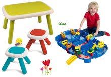 Set stôl pre deti KidTable Smoby zelený s lavicou a dvoma stolčekmi s UV filtrom SM880401-5