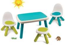 Set măsuță KidTable albastru Smoby cu scaun albastru și un taburet cu protecție UV
