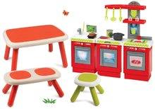 Set stôl pre deti KidTable červený Smoby s lavicou, stolčekom s UV filtrom a kuchynkou
