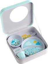 Jedálenská súprava pre deti Beaba Rainbow Gift v krabičke modrá
