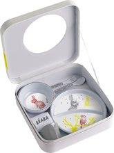 Jedálenská súprava pre deti Beaba Zajačik v darčekovej krabičke šedá