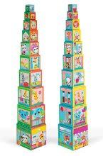 Skladacia pyramída pre deti Priatelia v meste Janod štvorcová 10 dielov od 12 mesiacov