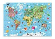 Puzzle Veľká mapa sveta Janod v okrúhlom kufríku 300 dielov od 6 rokov