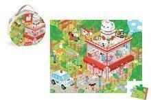 Detské puzzle do 100 dielov - Puzzle U veterinára so zvieratkami Janod v okrúhlom kufríku 36 dielov od 4 - 7 rokov_0